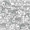 Vektor Cliparts: Nahtlose Muster mit Häusern