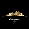 Singapur Skyline der Stadt Silhouette schwarzem Hintergrund