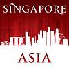 Singapur Skyline der Stadt Silhouette rotem Hintergrund