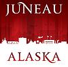 Векторный клипарт: Джуно на Аляске силуэт города красном фоне