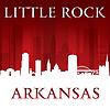 Векторный клипарт: Литл-Рок Арканзас силуэт города красном фоне