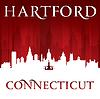 Vektor Cliparts: Hartford Connecticut Stadt-Silhouette rotem Hintergrund