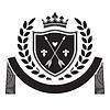 Wappen - Schild mit Krone, Pfeile, Lorbeer