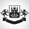 Wappen - Schild mit Festung, Buchstabe A,