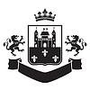 Wappen - Schild mit Festung und zwei standin