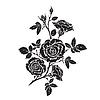 Векторный клипарт: Силуэт розы ветвь с открытыми цветами и бутонами