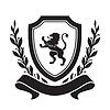 Wappen - Schild mit Löwe, Lorbeerkranz und