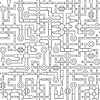 Seamless tile of illustrated pipe segments, | 向量插图
