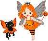 Halloween-Fee-und Katzen