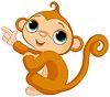 Mit dem Finger zeigen Baby-Affe