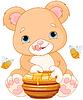 Bär hält Honig-Glas-