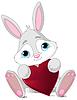 Векторный клипарт: Кролик держит сердце