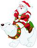 Векторный клипарт: Дед Мороз на Polar Bear