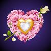 Vektor rosa Rosen, goldenen Juwel und weißen Kristall i