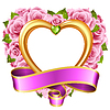 Vector rose frame in the shape of heart. Pink | 向量插图