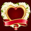 Vektor Rose Rahmen in der Form des Herzens. Weiß | Stock Vektrografik