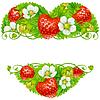 Vektor-Rahmen aus Erdbeeren in der Form des Herzens