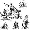 Set von alten Segelschiffen