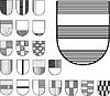 Set von heraldischen Shildern
