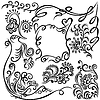 Vektor Cliparts: Set Silhouette Design dekorative Elemente Blume