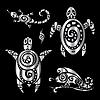 Turtle und Eidechsen. Polynesischen Tattoo-Stil