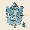 Векторный клипарт: Золотой Ganapati Медитация в позе лотоса