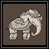 Векторный клипарт: Слона. Индийский стиль