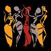 Векторный клипарт: Африканские танцоры силуэт набор