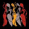 Vektor Cliparts: Afrikanische Tänzer Silhouette Set