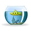 Cartoon-U-Boot in Runde Aquarium