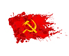 Rote Fahne mit Hammer und Sichel von bunten gemacht