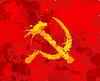Grunge Hammer und Sichel-Symbol des Kommunismus auf