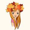 Hübsches Mädchen mit Krone der gefallenen Blätter