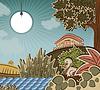 Ente sitzt auf Eiern. Illustration zum Märchen Ugly Duckling (Hans Christian Andersen)
