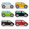 Cartoon Minivan mit großen Rädern, sechs verschiedene