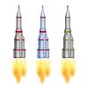 Weltraumrakete drei Farbvarianten