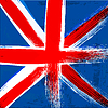 Grunge-Hintergrund in den Farben von Großbritannien Flagge