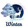 Frosty Winter Konzept Hirsche vor Baum
