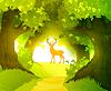 Deer in Zauberwald, der vor aufgehenden Sonne