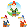Collection of garden gnomes   Stock Vector Graphics