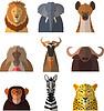 Icons von afrikanischen Tieren | Stock Vektrografik