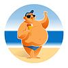 Big man on beach   Stock Vector Graphics