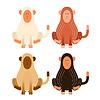 Flat cartoon monkeys   Stock Vector Graphics
