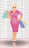 Plus size Shopping blonde Frau, Vektor-Illustration