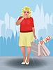 Plus size Einkaufen Frau in der Stadt, Vektor-Illustration