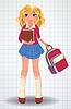 Schulmädchen mit Buch, vector