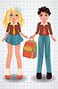 Nette Schulmädchen und Jungen, Vektor-Illustration