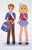 Nette Schuljunge und Mädchen mit Buch, Vektor-Illustration