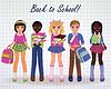 Nette kleine Schule Mädchen und Jungen Freunde, vector illustr