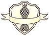 Schach-Wappen mit Bauer und Krone, Vektor-Illustration